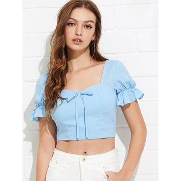 Blue Knot Front Ruffle Sleeve Smocked Back Top