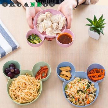 1 PC Creative Cartoon Plate Pure natural wheat straw Lovely Lunch Tray Dishes Kids Bowl Dinnerware Children's Plastic Tableware