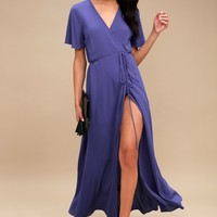 Much Obliged Royal Blue Wrap Maxi Dress