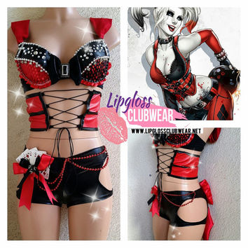 Badass Sexy Harley Quinn inspired Costume with Side Cut and Corset  for Halloween, Tomorrowland, TomorrowWorld, EDC & Music festivals