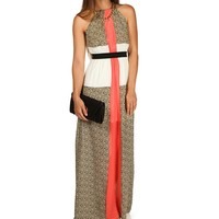 Promo-colorblock Printed Maxi Dress