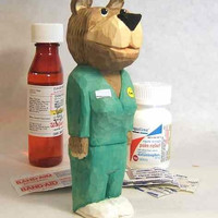 Hand Carved Wood Care Bear Nurse Thank You Gift