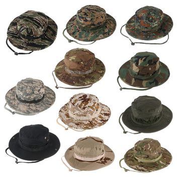 Military Camouflage Hidden Jungle Hat Multifunctional Fishing Caps Hats Sun Protection Camping Hiking Sunproof Hats