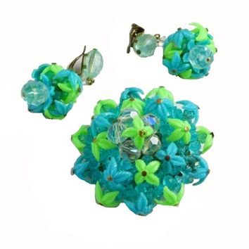 Western Germany Blue and Green Plastic Leaves and Crystals Demi Parure