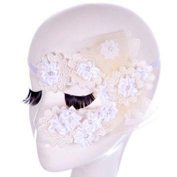 Faux Lace Floral Rhinestone Party Mask