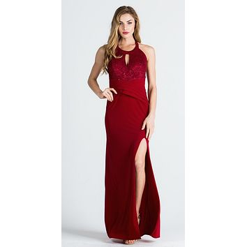 Keyhole Neckline Halter Long Formal Dress with Slit Burgundy