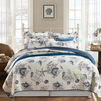 CHAUSUB Marine Style Cotton Quilt SET 3PCS Quilted Bedspread Printed Quilts Bed Covers King Size Coverlet Set Pillowcase Bedding