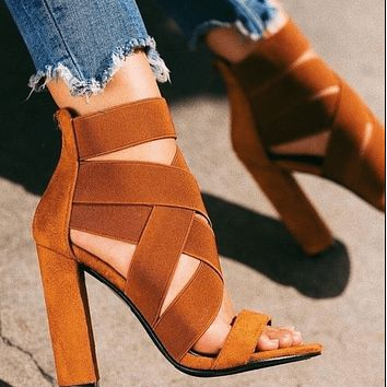Suede Point Toe High Chunky Heel Sandals