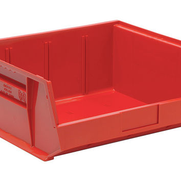 Quantum QUS250 Plastic Storage Stack And Hang Bin 14-3/4 x 16-1/2 x 7, Red - Pack of 6