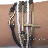 Unisex  simple fashion ancient bronze Infinite hope Cross and Arrow pendant white and black leather braided bracelet