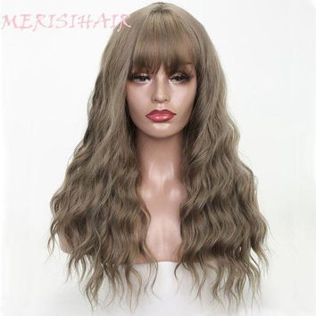 ESBONT MERISI HAIR 26' Long Grey Brown Womens Wigs with Bangs Synthetic Wavy Wigs for Black Women African American