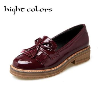 Big Size 43 Tassel Bow Loafers 2017 New Women Oxfords Patent Leather Platform Flats Spring Round Toe Slip-on Casual Shoes Woman
