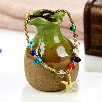 New Fashion Style Glass Bohemia Ethnic BeadsCopper Bell Bracelets Boho Starfish Dolphins Bracelets For Women Charm Jewelry