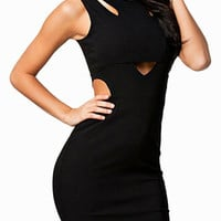 Black Sleeveless Cut-Out Back Zip Bodycon Dress