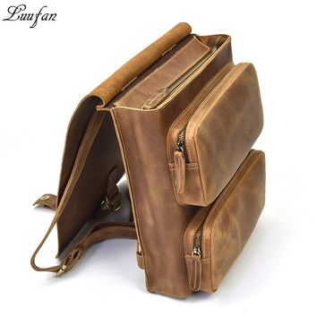 Casual Crazy horse Leather Backpack Men Genuine Leather Vintage Multifunctional School Bags Daypack Man Travel Rucksack