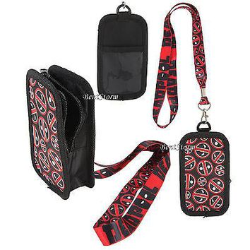 Licensed cool Marvel Deadpool Allover Logo Pouch Fits Most iPhone Cell Phone ID Holder Lanyard