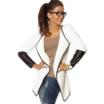 Women Basic Jacket Long Sleeve Patchwork Autumn Spring Cardigan Slim Jackets Poncho Outerwear Bomber Jacket Coat Black White