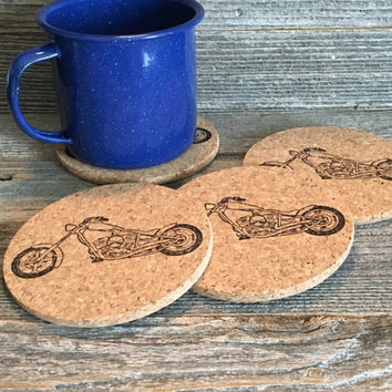 Motorcycle Coasters, Cork Coasters, Motorcycle Gift, Bike Coasters, Man Cave Gift, Absorbent Coasters, Set of 4, Gift for Men - Item# 001