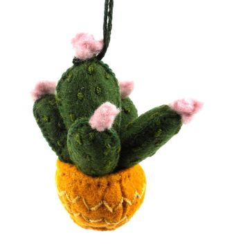 Prickly Pear Cactus Fair Trade Felt Tree Ornament