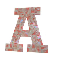 Mosaic Letter, Pink Initial, Nursery Art