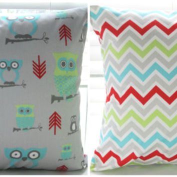 """Two Decorative Throw Pillows Pillow Covers  18"""" x 18"""" Gray """"Hooty"""" and """"Zoom Zoom"""" Turquoise Lime Green and Orangy Red. MORE Sizes Avaiable"""