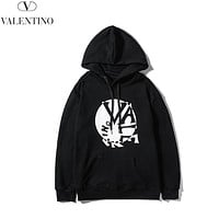 Valentino Autumn And Winter New Fashion Letter Print Women Men Leisure Hooded Long Sleeve Sweater Black