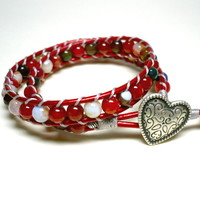 Italian Heart with Multicolored Agate Double Wrap Red Leather Bracelet