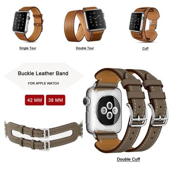 38MM Genuine Leather Band For Apple Watch Strap Single Tour / Double Tour / Cuff Leather for Apple Watch Band Series 3/2/1