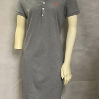 Vtg 90s RALPH LAUREN Heather Gray Polo Dress / Cute Preppy Sporty Dress with Collar / Knee Length Casual Cotton Dress / Embroidered Logo