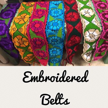 Mexican Embroidered Belts Floral Colorful