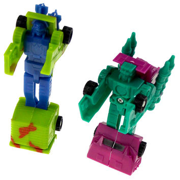 Transform Plastic Toy Tanks Robot Lot 11 Party Favors Cake Toppers Blue Green