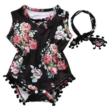 Baby Girl Clothes Set Bodysuit Sleeveless Headband 2pcs Sunsuit Cute Baby Girls Clothing Tops Floral