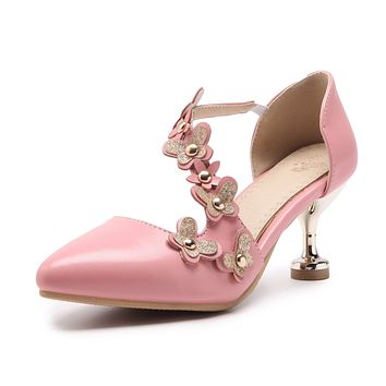 Pointed Toe Flower High Heels Sandals Summer Shoes 5311