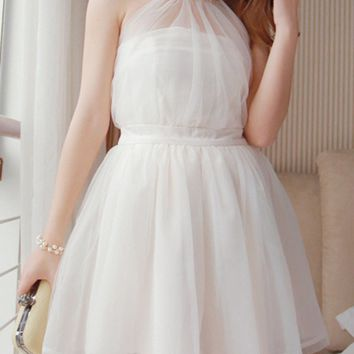 Casual Halter Faux Pearl Hollow Out Plain Mini Skater Dress