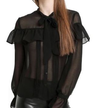 Black Lace Ruffles Chiffon Shirt Solid Butterfly Sleeve Blouse Sexy Single Breasted Women Tops
