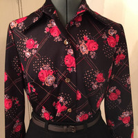 DARLING DISCO Vintage 1970's Womens Patterned Collared Shirt Flower Power Mod