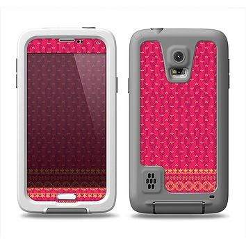 The Tall Pink & Orange Vintage Pattern Samsung Galaxy S5 LifeProof Fre Case Skin Set