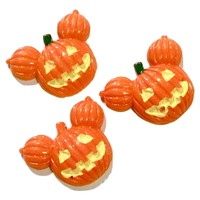 Orange pumpkin mouse head resin cabochon 22x17mm / 1-5 pieces