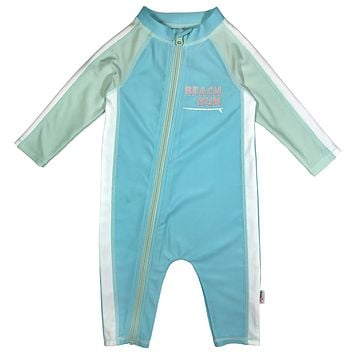 "Sunsuit - Girl Long Sleeve Romper Swimsuit with UPF 50+ | ""Beach Bum"""