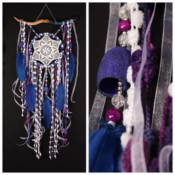 dreamcatchers Blue wall hanging Feather Dreamcatcher Gift dreamcatchers wall Boho style catcher dreamcatcher blue dreamcatcher purple decor