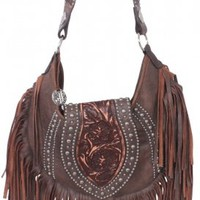 Brown Bomber Fringe Hobo Purse - HMH08