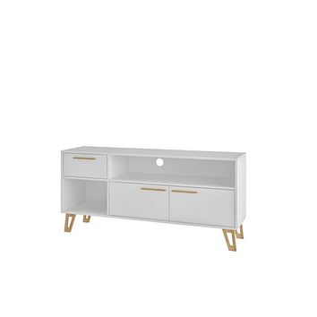 "Doris 53.14"" Mid Century Modern TV Stand with 1- Drawer, White"