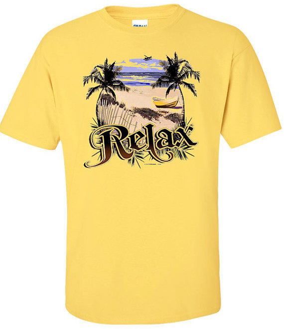 Cotton t shirt with tropical beach scene from badass screen for Beach t shirts for men