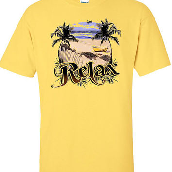 Cotton T-shirt with Tropical Beach Scene -  Great Tee with Screen Print of Ocean & Palm Trees saying Relax,  Fits  Men and Women.