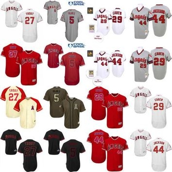 Men's 27 Mike Trout 29 Rod Carew 44 Reggie Jackson 5 Albert Pujols Jersey , Men's Los Angeles Angels Of Anaheim baseball jersey Stitched