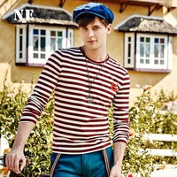 Long Sleeve T-shirts Patchwork Navy Stripes Round-neck Stylish Slim Bottoming Shirt [7951252483]
