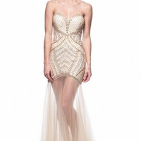 Kari Chang KC37 Sheer Bottom Gold Beaded 2015 Prom Dress