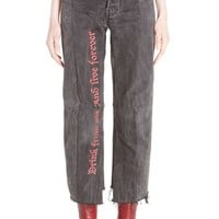 Vetements Reworked Embroidered Crop Jeans | Nordstrom