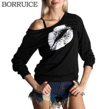 BORRUICE New 2016 T Shirt Women Fashion Lips Printed Long Sleeve T-shirt Plus Size Women Clothing Tshirt Black Tees Camisetas