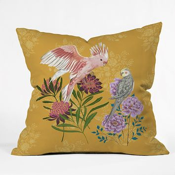 Pimlada Phuapradit Cockatiel And Cockatoo Throw Pillow